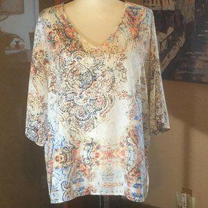 Chicos Silky Artsy Boho 3/4 sleeve blouse